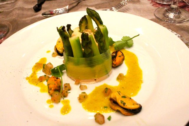 Steamed asparagus wrapped torte