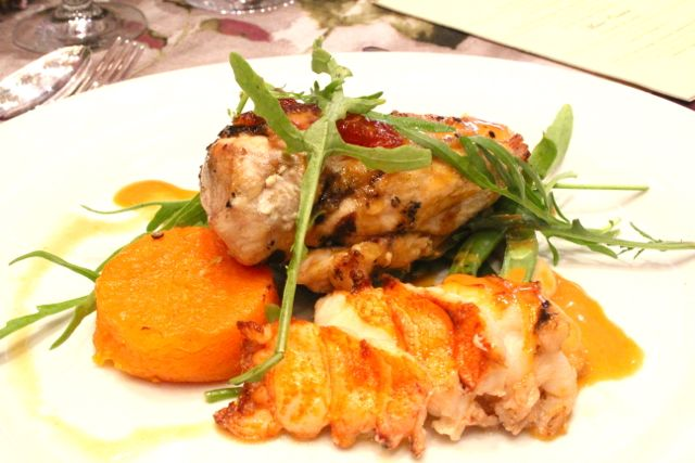 Duo of free range chicken supreme & crayfish with warm salad of exotic mushrooms, butternut and rocket, roast grapefruit and crayfish bisque served with the Lanzerac Chardonnay 2012.